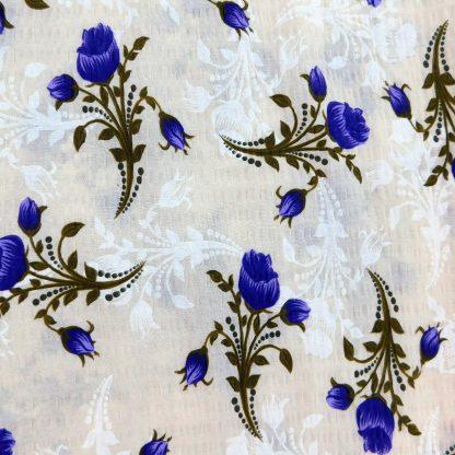 Fata de perna motiv floral trandafiri alb, mov 70 cm x 70 cm