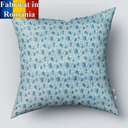 Fata de perna motiv floral, albastru alb 70 cm x 70 cm