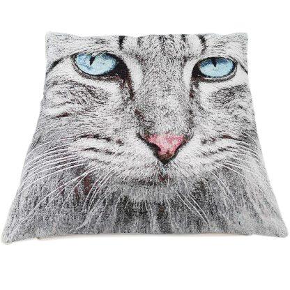 Fete de perne decorative pisicuta gri, cu ochi albastrii
