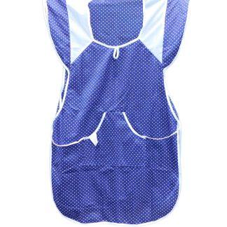 Sort bucatarie fata-spate albastru ultramarin, buline albe