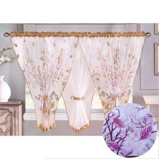 Perdele gata facute 400 cm x 150 cm motiv floral, mov violet