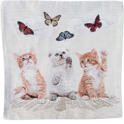 Fete de perne decorative cu 3-pisicute gri si roscate cu ochi albastrii si fluturasi