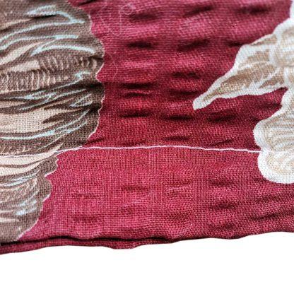 Fete de perne din bumbac creponat, motiv floral bordo 70 cm x 50 cm