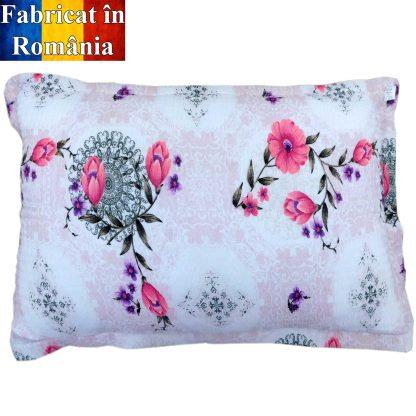 Fete de perne din bumbac creponat, flori roz liliac 70 cm x 50 c