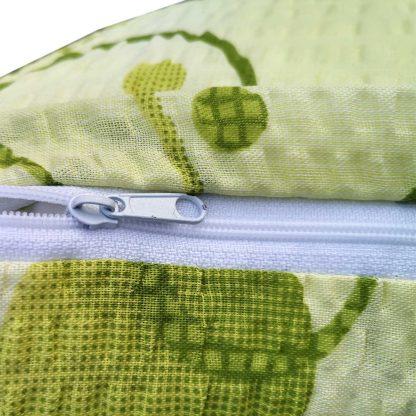 Fete de perne din bumbac creponat, motiv geometric verde 70 cm x 50 cm