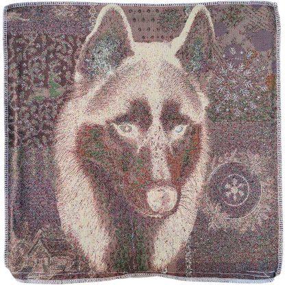 Fete de perne decorative Jacquard, caine husky, 45 x 45 cm