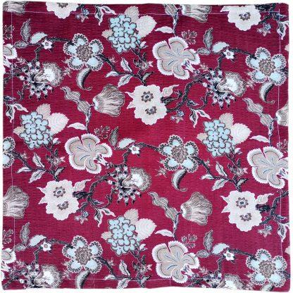 Fete de perne din bumbac creponat, motiv floral bordo 45 cm x 45 cm