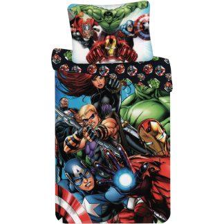 Lenjerie de pat 2 Fețe, Avengers, din bumbac, cu fermoar