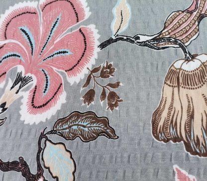 Fata de perna din bumbac creponat, 70 cm x 50 cm, gri, cu flori