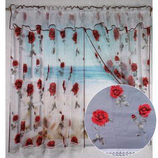 Perdele gata cusute, 400 cm x 150 cm cu trandafiri