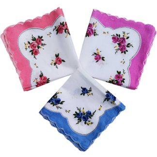 Set 10 batiste dama, 28cm x 28cm cu flori