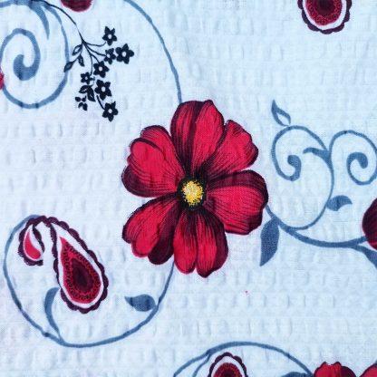 Fata de perna crem, model floral 45 cm x 45 cm