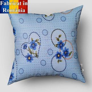 Fata de perna bumbac creponat motiv floral albastra 45 cm x 45 cm