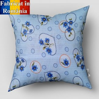 Fata de perna bumbac creponat motiv floral albastra 70 cm x 70 cm