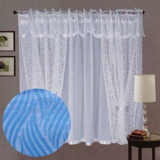 Perdele gata cusute, albe, dungi albastre 145 cm x 240 cm