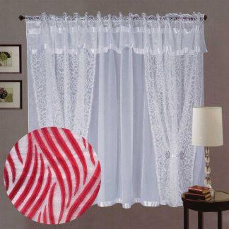 Perdele gata cusute, albe, dungi rosii 145 cm x 240 cm